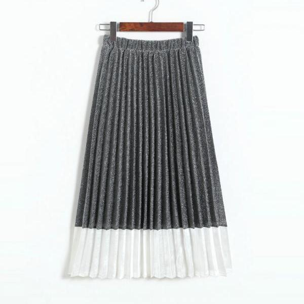 New Patchwork Pleated Long Skirt for Woman
