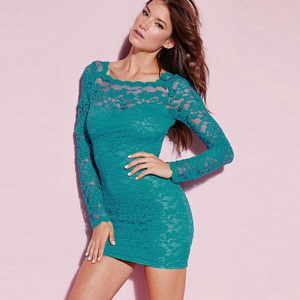 Good Quality And Pretty Zip Fly Design Round Neck Lace Dress