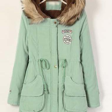 High Quality Essential Zipper Closure Long Sleeve Hooded Coat - Light Green