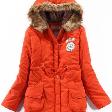 High Quality Essential Zipper Closure Long Sleeve Hooded Coat - Orange