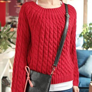 Vintage Long Sleeve Cable Knitting Pullover - Red