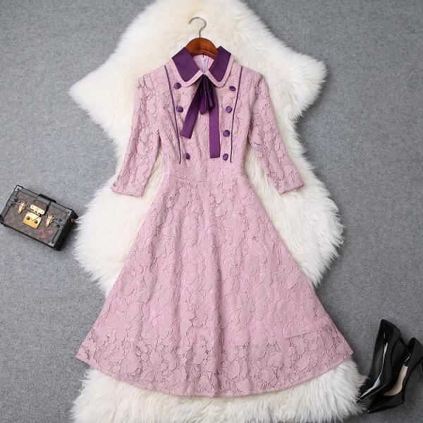 High Quality Bow Purple Lace Dress