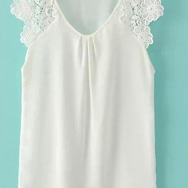 Sweet Lace Splicing Chiffon Sleeveless Blouse - White