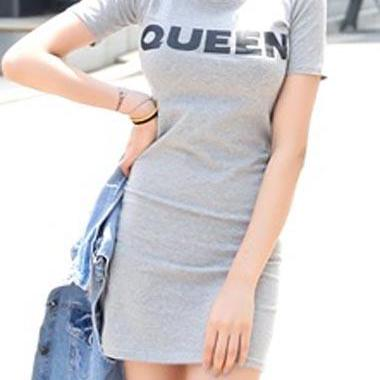 Casual Letter Printed Sheath Dress - Light Grey