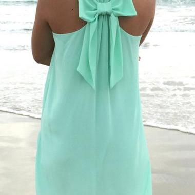 Cute Bowknot Embellished Round Neck Straight Chiffon Dress - Green
