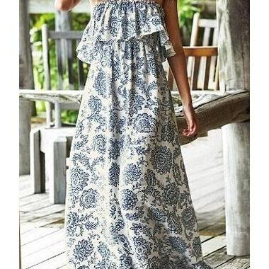 Bohemian Style Printed Flouncing Strapless White Maxi Dress