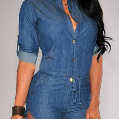 Free shipping Blue Button Closure Turndown Collar Skinny Romper
