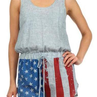 Free shipping Drawstring Waist Sleeveless Round Neck Flag Print Romper