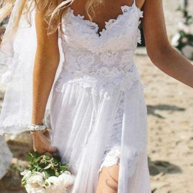Elegant White Lace Splicing Open Back Chiffon Maxi Dress