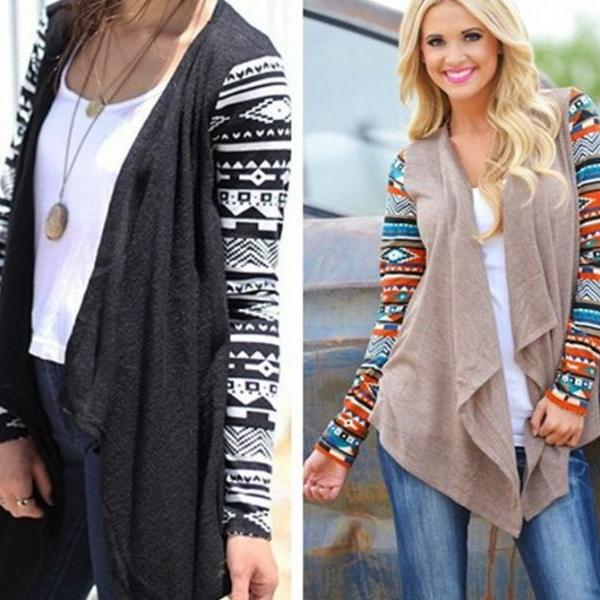 High Quality Geometric Print Long Sleeve Cardigan(2 colors)