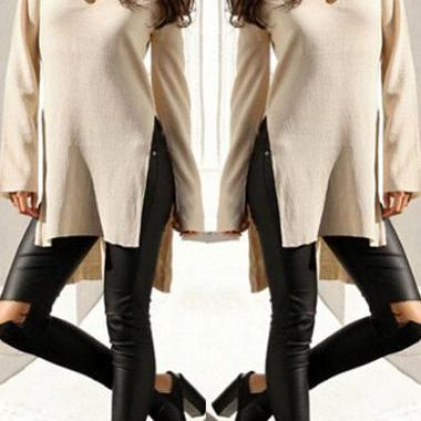 Sexy Side Slit V Neck Long Sleeve Sweater