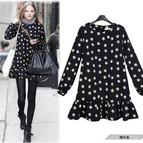 New Design Long Sleeve Floral Black Dress