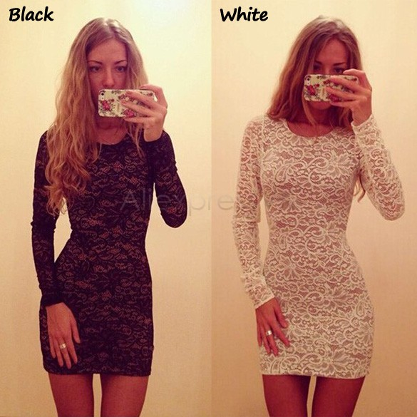 Women Sexy Long Sleeve Lace Dress (2 colors)