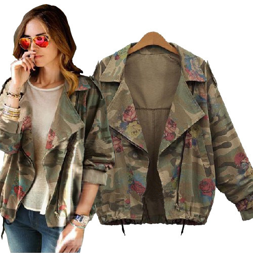Fashion Floral Arm Green Long Sleeve Coat