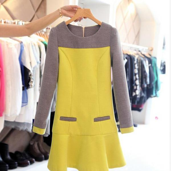 Fashion Round Neck Woolen Long-sleeved Dress