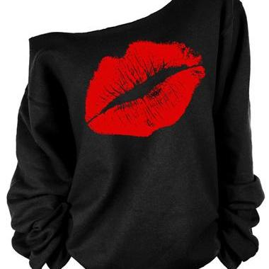 Sexy One Shoulder Lip Style T Shirts For Women (2 Colors)