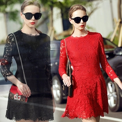 Fashion Long Sleeve Lace Dress For Autumn&Winter (2 Colors)