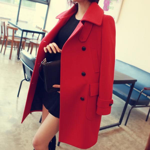 High Quality Turndown Collar Loose Double Breasted Woolen Coat (4 Colors)