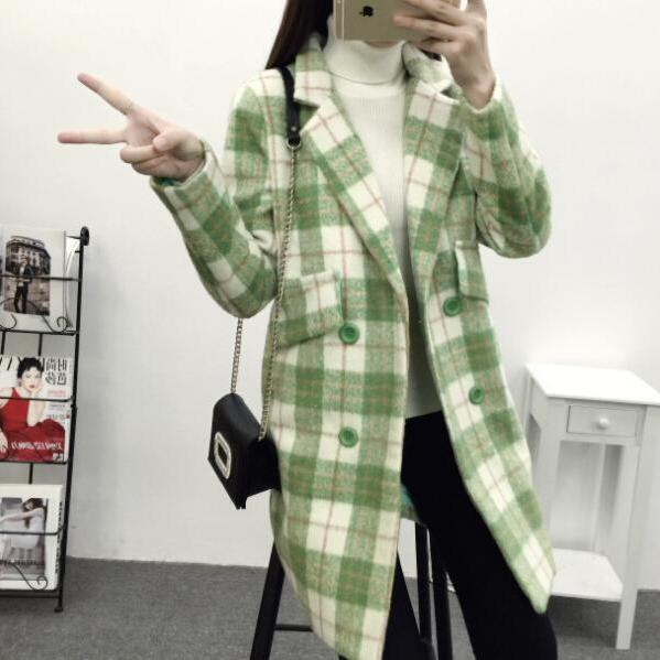 Vintage Grid Style Double Breasted Woolen Coats For Women (3 Colors)