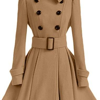 High Quality Long Sleeve Belted Coat - Light Tan