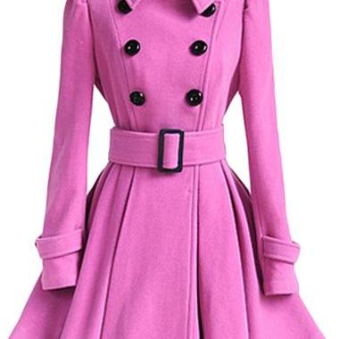 High Quality Long Sleeve Belted Coat - Pink