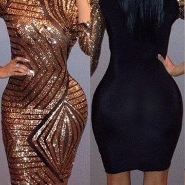 Sexy Club Sequin Embellished Color Block Bodycon Dress