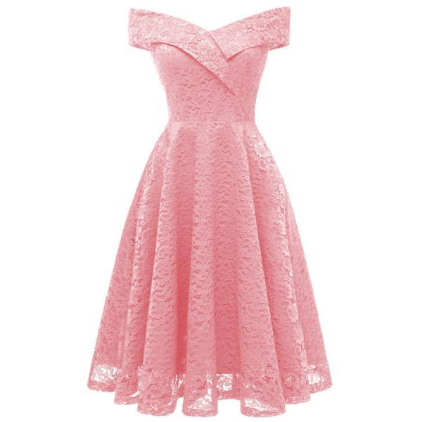 Elegant Sleeveless Women Off Shoulder Lace Dress - Pink