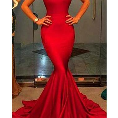 Super Sexy Red Round Neck Sleeveless Floor Length Mermaid Dress