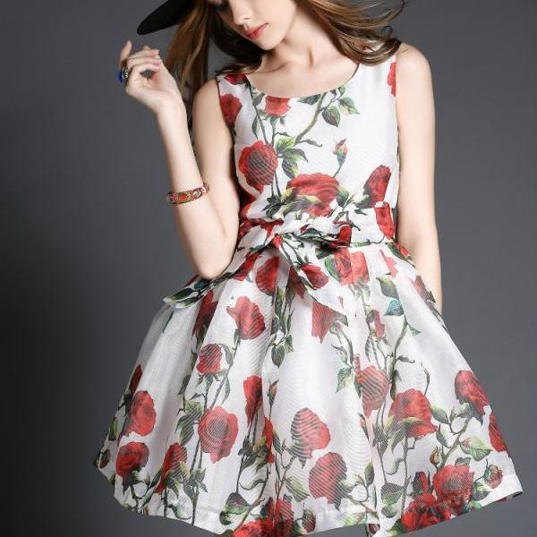 High Quality Floral Sleeveless Dress (2 Colors)