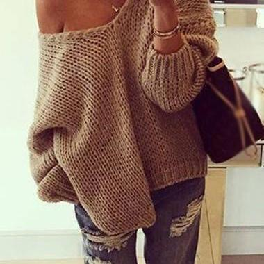 Sexy Skew Neck Khaki Long Sleeve Sweater For Women