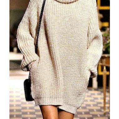Casual Turtleneck Long Sleeve Straight Mini Dress