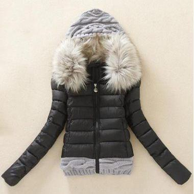 Fashion New Knitting Wool Splicing Hooded Winter Coat - Black