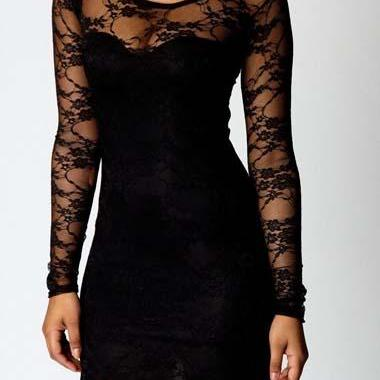 Sexy Solid Black Round Neck Lace Sheath Dress