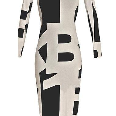 Sexy Letter Printed White and Black Patchwork Dress
