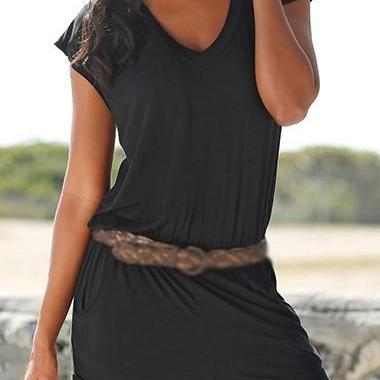 Sexy Cutout Back V Neck Short Sleeve Rompers - Black