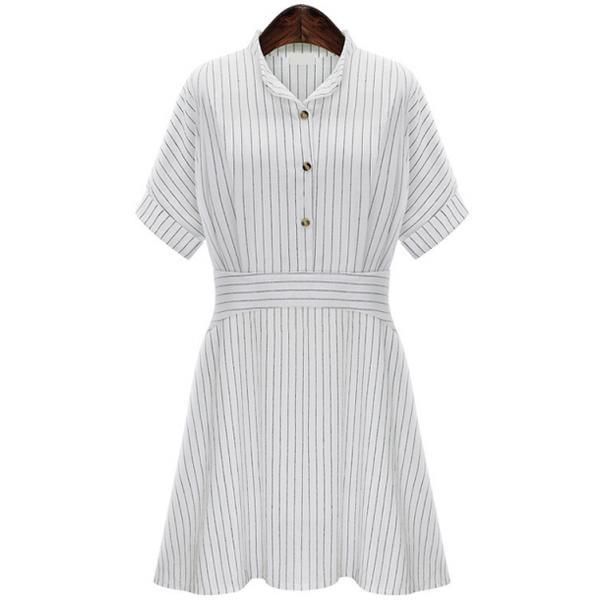 Fashion New Collar Cotton Short-sleeved Dress
