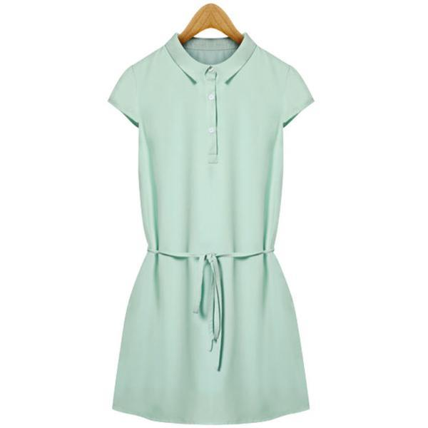 High Quality Green Chiffon Short Sleeve Dress