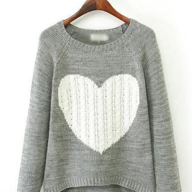 Cute Long Sleeve Heart Pattern Grey Asymmetric Sweater