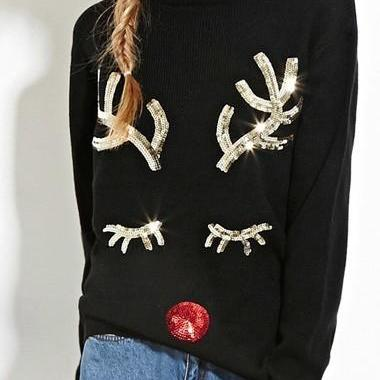 Fashion Long Sleeve Sequins Decorated Christmas Sweater