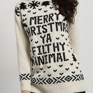 Fashion Letter Pattern Long Sleeve Beige Sweater