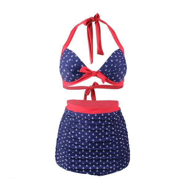 Fashion Women Anchor Pattern High Waist Swimsuit Swimwear Bikini - Red