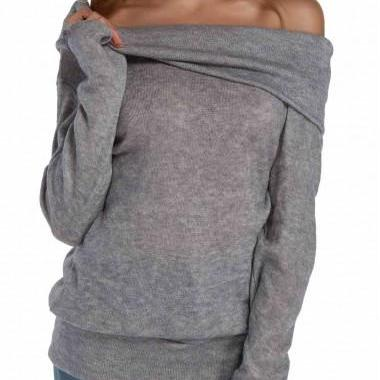 Grey Off-The-Shoulder Double Layered Knitted Long Sleeves Sweater