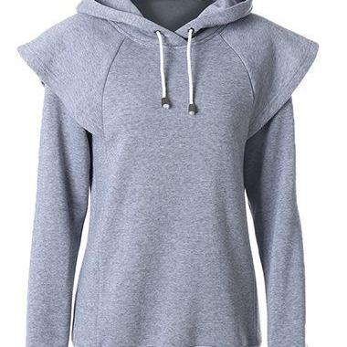 Fashion Hooded Collar Long Sleeve Sweatshirt - Grey