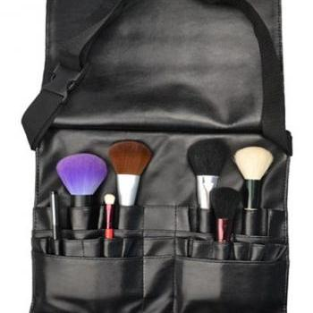Cool Black Professional Make Up Brushes Belt Tool Pocket Bag With 21 Slots For Brushes