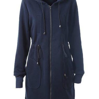 High Quality Drawstring Waist Hooded Collar Dark Long Sweat - Navy Blue