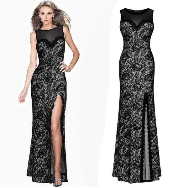 Sexy High Waist Black Maxi Sleeveless Dress