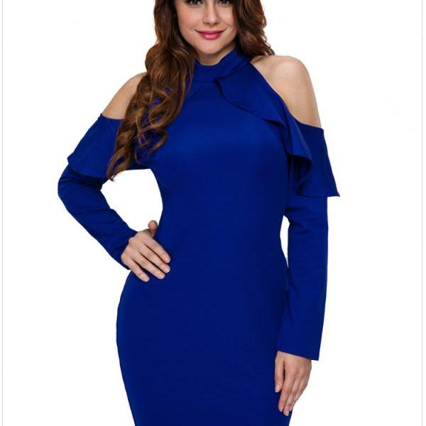 Ladies Fashion Sexy  Off-Shoulder Ruffle Slim Long sleeves Dress - Blue