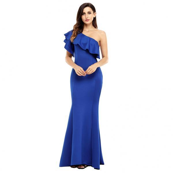 High Quality One Shoulder Elegant Maxi Dress - Blue