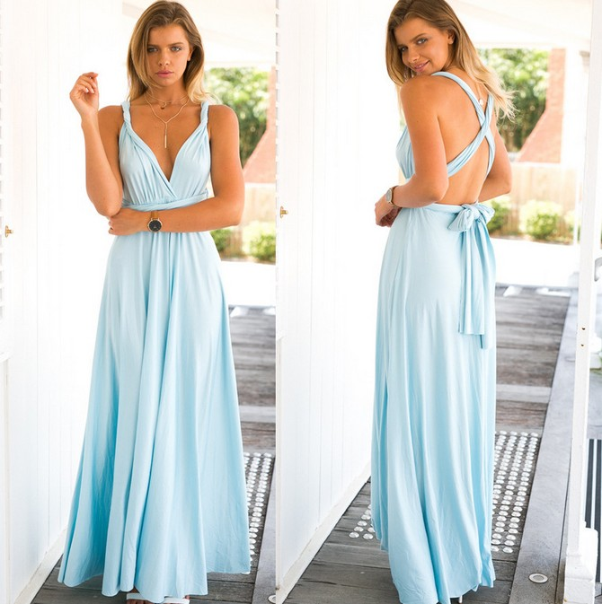 561c793c50 Good Quality Hollow Back Party Pleated Maxi Dress - Light Blue on Luulla