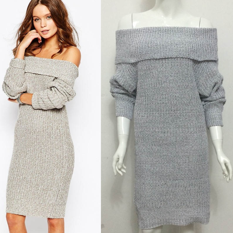 7aa16215490 Sexy And Fashion Women s Long Sleeve Off Shoulders Sweater Dress on Luulla